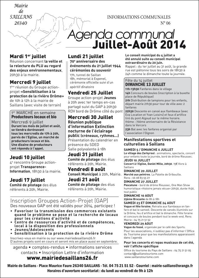 agenda juillet-aout