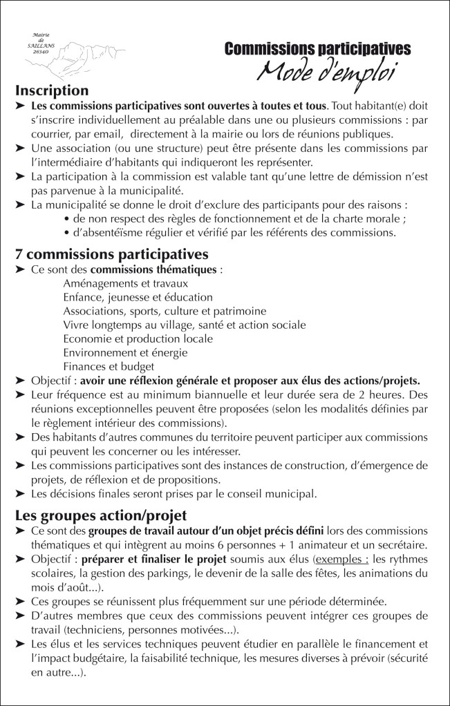 mode emploi commissions participatives